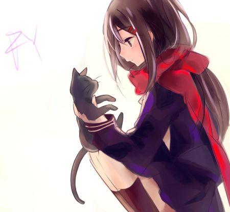 急需拿着黑猫,长头发二次元的女生头像!图片