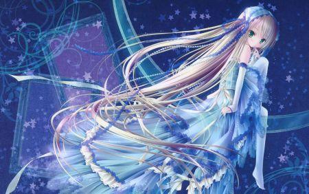 蓝色梦幻动漫卡通美少女pp头像图片