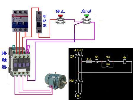 用一个380v交流接触器和2个开关控制电机的实物接线图是-接380v图片