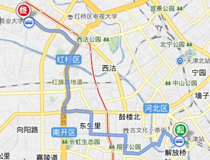 从天津火车站到天津大学要怎样搭乘公共汽车高清图片