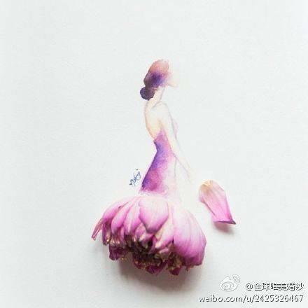 要用花朵花瓣做裙子的图片图片
