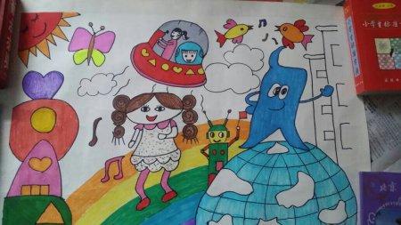 下面是《我的未来太空》绘画.请写写作品创意说明(限300字以内)图片