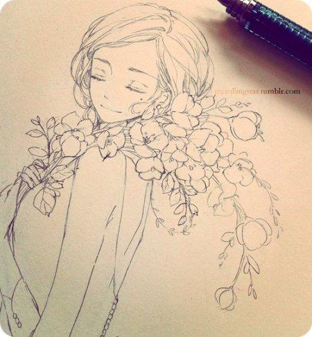 可爱动漫女生铅笔画(9)