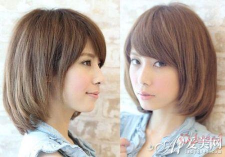 谁有齐肩直发斜刘海的美女发型图片