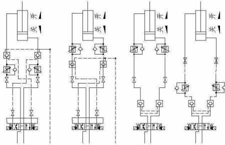 液压系统从左到右图一油缸伸出时要求很慢,所以节流阀图片