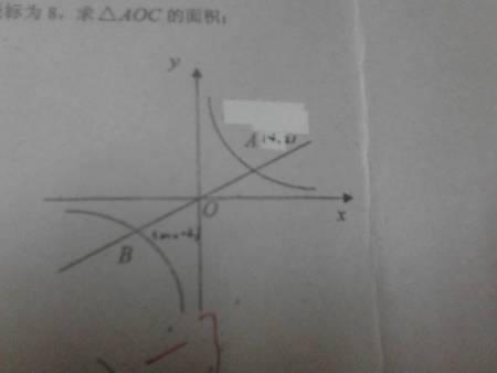 数字�yc~ZHNynz��K��x�_若双曲线y=x分之k(k大于0)的上点c的纵坐标为8,求三角形aoc的面积