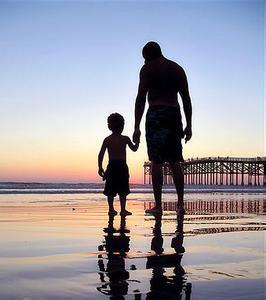 求几张父子牵手背影图片图片