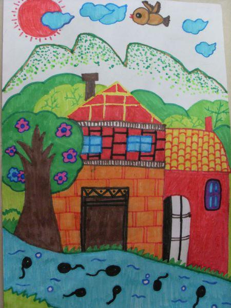 """描绘家乡美景的水彩画或""""盘画"""".图片"""