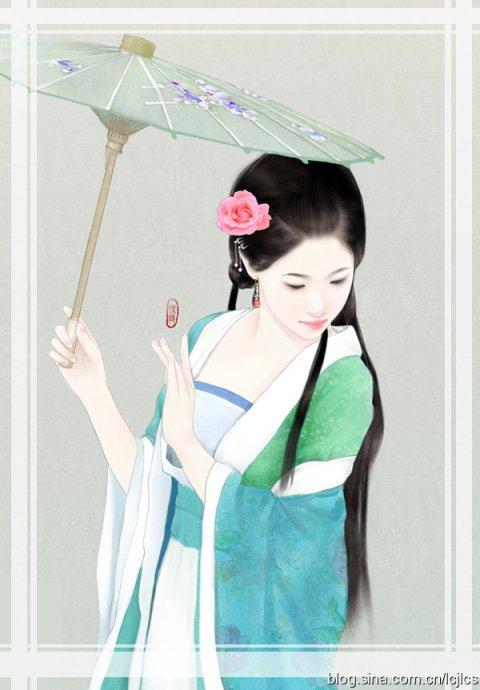 跪求撑着油纸伞的古代女子动漫图