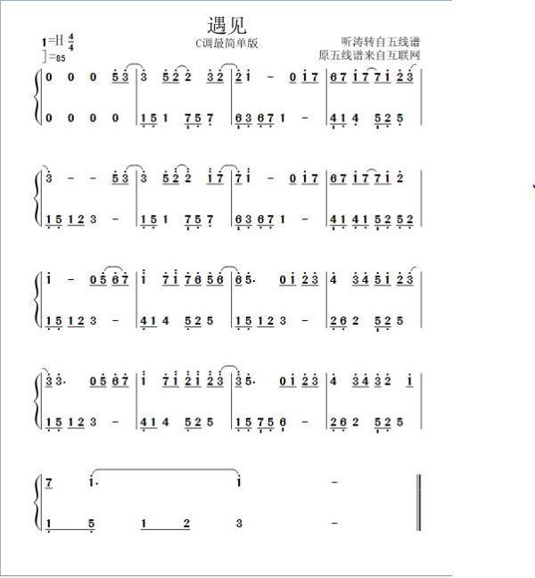 歌曲《遇见》的数字钢琴谱图片
