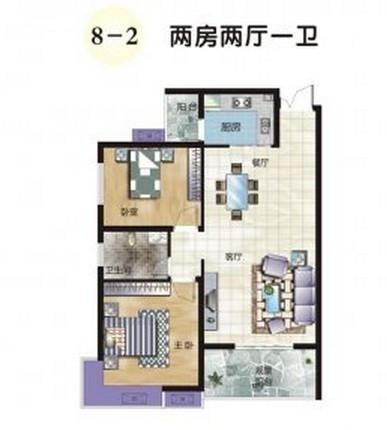 求92平米两室两厅一卫室内装修设计效果图 要求简单简约设高清图片