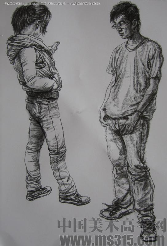 男青年速写. 站姿 坐姿3种不同姿态的图片.速求!-站姿喝水速写
