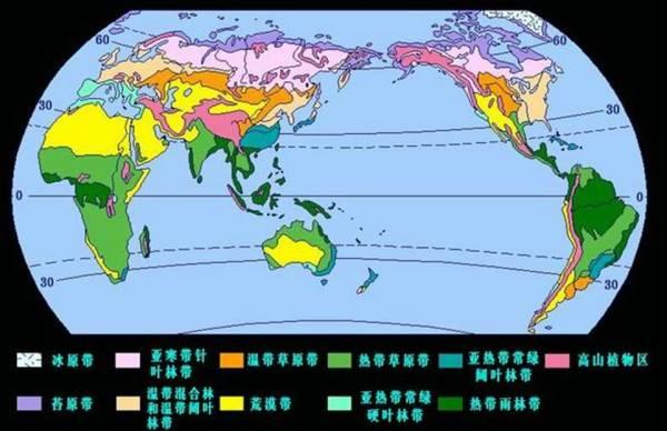 世界陆地气候类型分布图