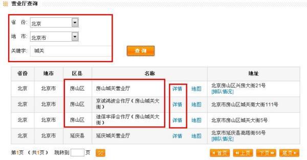 北京市房山区城关镇中国联通营业厅的电话号码是多少