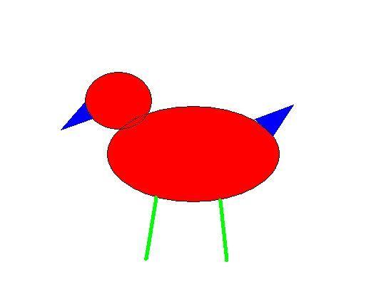 两个圆,两个三角形和两条线段能组成哪些新奇,有趣的图形,并说图