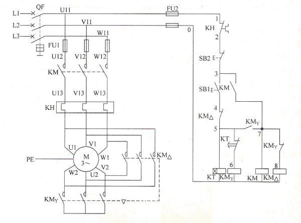 星启动角运行电机时的JS7时间继电器是怎样接