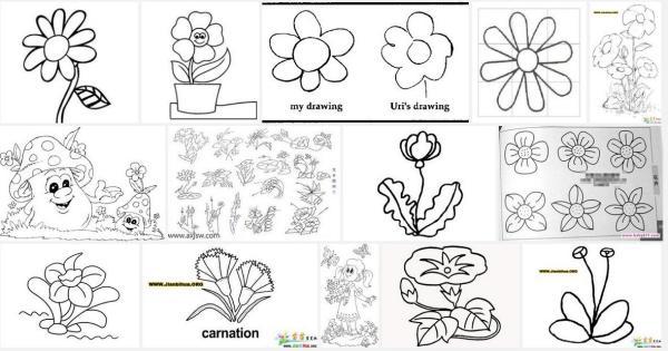 花丛花朵图片简笔画 手绘花朵图片简笔画 可爱卡通花朵简笔画 幼儿花