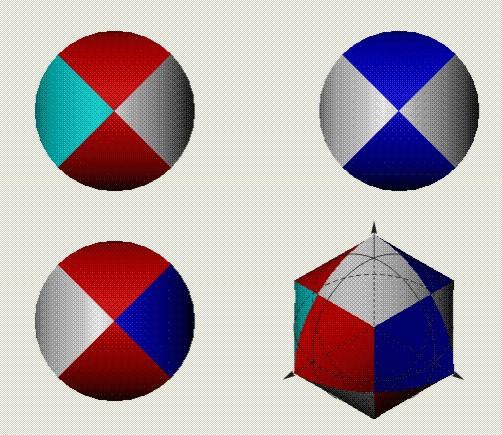 圆形的几何图形就像把三个足够长的圆柱体相互垂直相交起来再取交图片