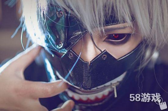 没有东京食尸鬼金木研的cos图片,一只眼睛红黑色,带面具的,谢谢图片