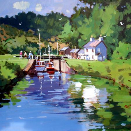 风景画简笔水粉画-水粉画的简笔画的视频|秋天风景画简笔画彩色|风景