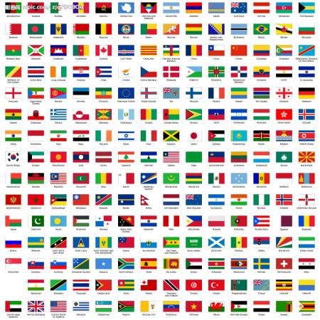 各个国家的国旗标志 高清图片