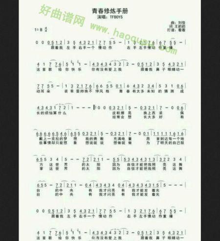 青春修炼手册电子琴谱图片