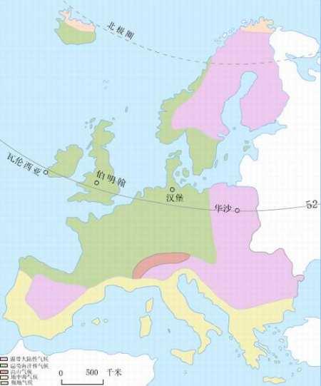 大部分地区位于北纬35度~60度之间,以温带大陆性气候和温带海洋性